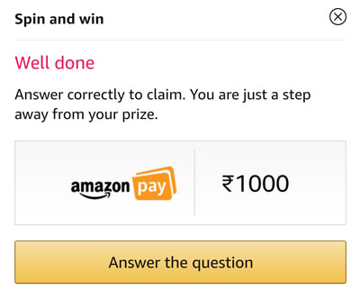 Answer a question and claim your Rs.1000 Amazon Pay Balance or other prizes.