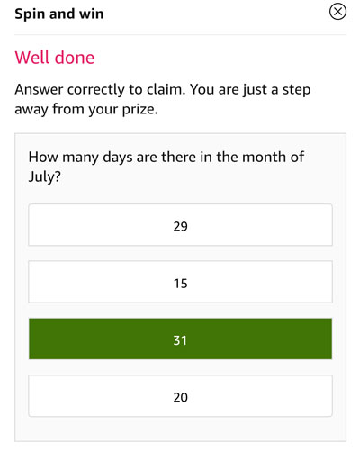 Tap on the correct answer - Month July has 31 days