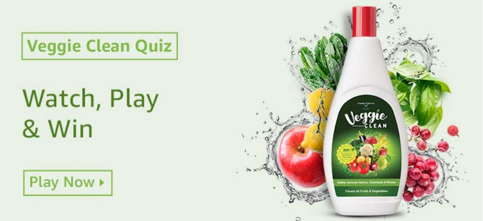 Amazon Veggie Clean Quiz Answers - Win Rs.10,000