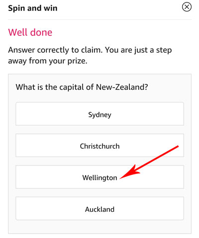 Tap on the correct answer to be eligible - Capital of New-Zealand is Wellington.