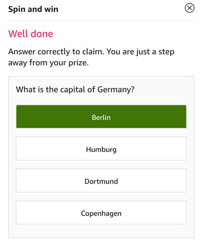 Tap on the correct answer to be eligible - Capital of Germany is Berlin