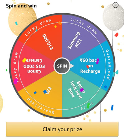 Spin the fortune wheel to win Canon EOS 200D, Recharge Offers or other prizes.