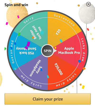 Spin the Fortune Wheel for winning MacBook Pro or other prizes.