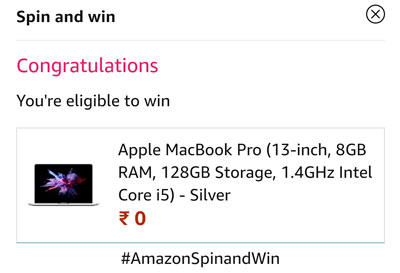 Final confirmation on your winning of MacBook Pro or other prizes