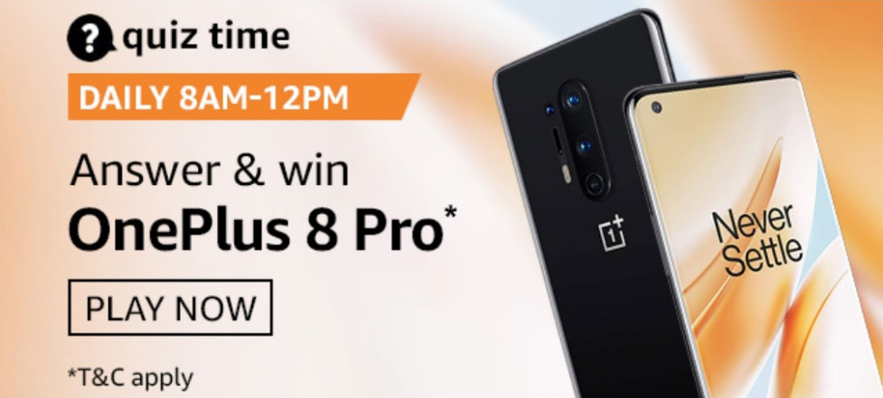 Amazon Quiz Answers - Win OnePlus 8 Pro