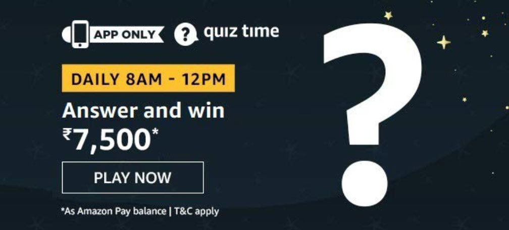 Amazon Quiz Answers - Win Rs.7,500