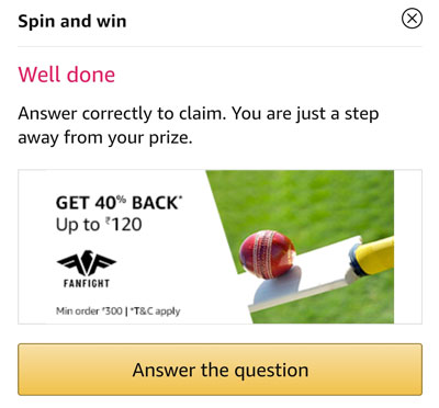 Answer a question and claim your Fanfight Cashback Coupons or Amazon Pay Balance.