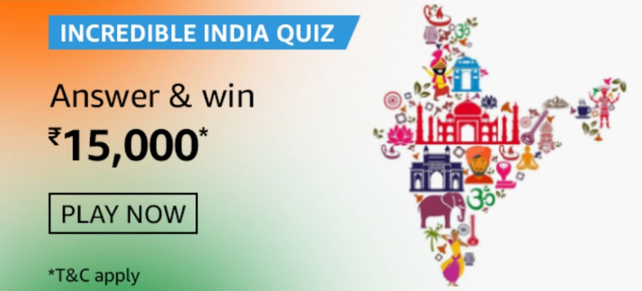 Amazon Incredible India Quiz Answers - Win Rs.15,000