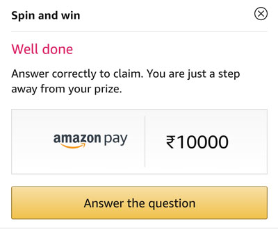 Answer a question and claim your Amazon Pay Balance or other Rewards.