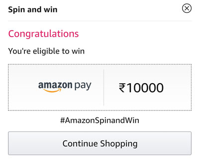 Check out your eligibility to win the Amazon Pay balance or other Offers.