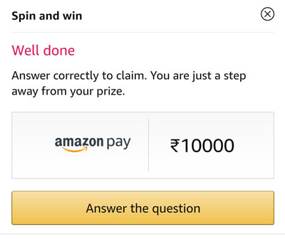 Claim your prize Rs.10,000 or other by answering a question.