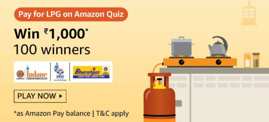 Amazon Pay For LPG Quiz Answers - Win Rs.1,000