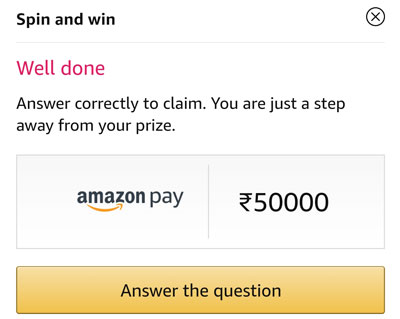 Answer a question and claim your Rs.50,000 Amazon Pay Balance or other Rewards.