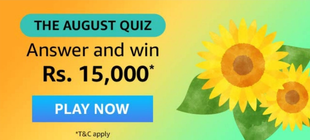 Amazon The August Quiz Answers - Win Rs.15,000