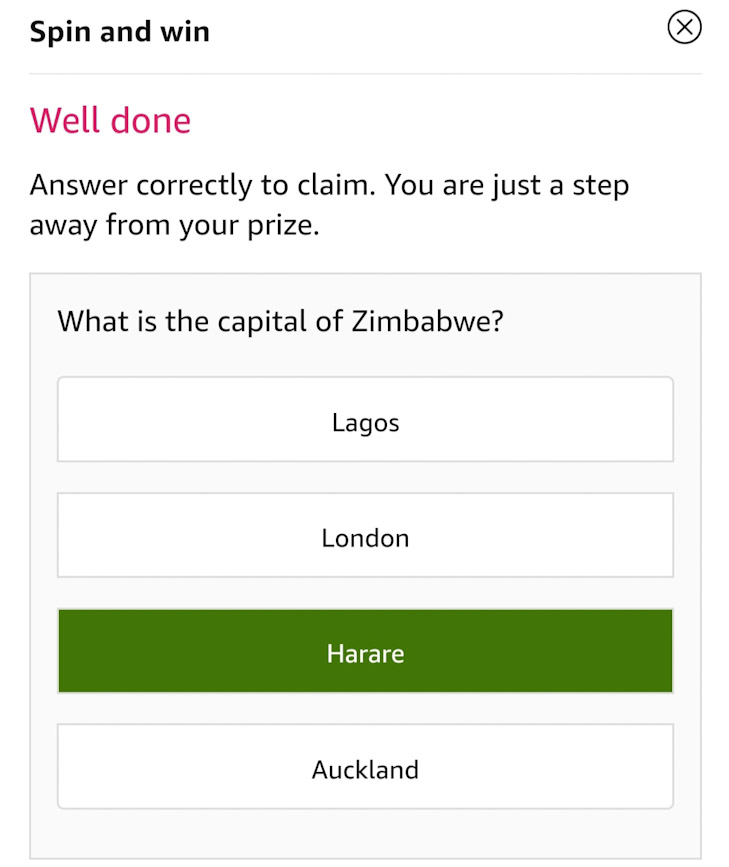 Tap on the correct answer to be eligible - Capital of Zimbabwe is Harare.