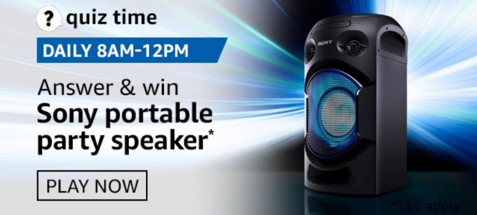 Amazon Quiz Answers - Win Sony Portable Party Speaker