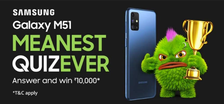 Amazon Samsung Galaxy M51 Quiz Answers - Get Reward Rs.10,000