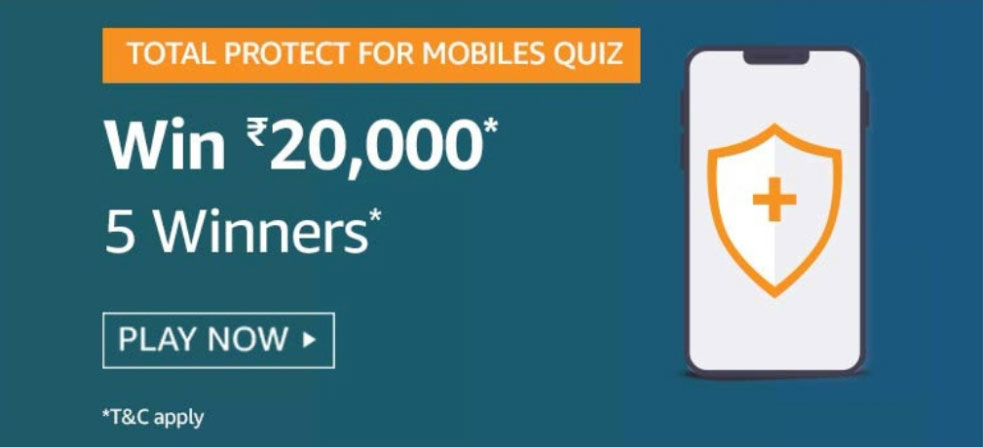 Amazon Total Protect For Mobiles Quiz Answers - Win Rs.20,000