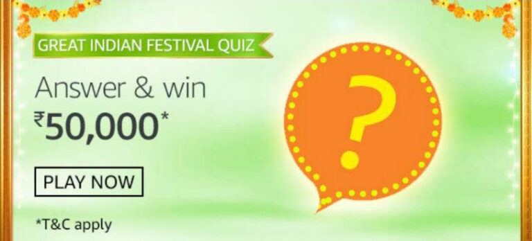 Amazon Great Indian Festival Quiz Answers - Win Reward Rs.50,000